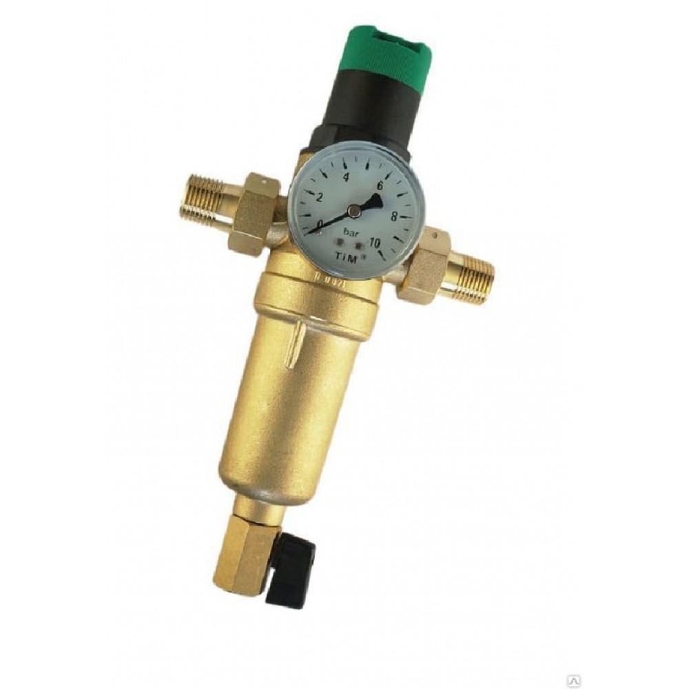 Фильтр промывной с редуктором снижения давления металлический JH-2007Y2