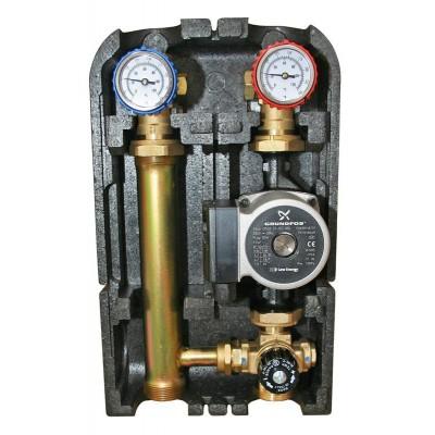 Насосная группа быстрого монтажа с трёхходовым термостатическим смесительным клапаном без насоса ZEISSLER