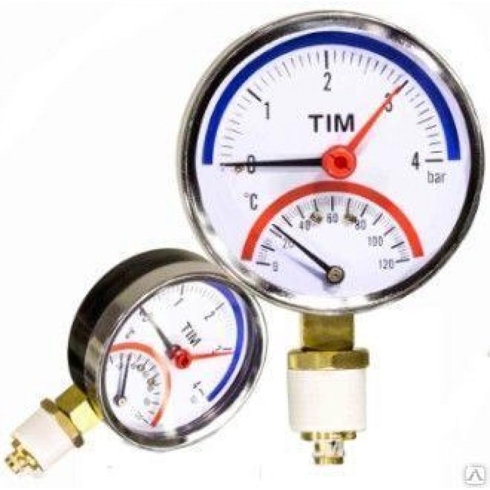 Термо-манометр аксиального подключения, до 4 бар Y-80-4
