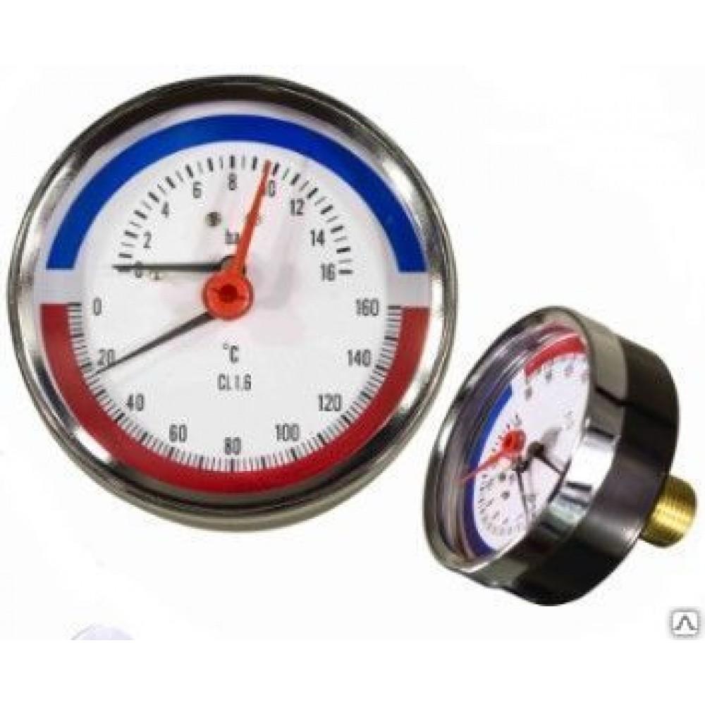 Термо-манометр аксиального подключения, до 6 бар Y-80T-6